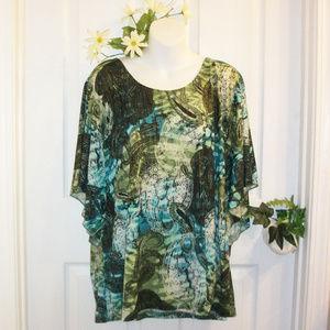 JM Collection 2X Kimono Sleeve Stretch Knit Top